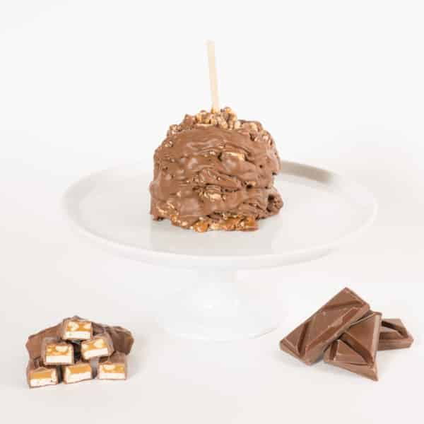 Chocolate Peanut Nougat Caramel Apple w Product display