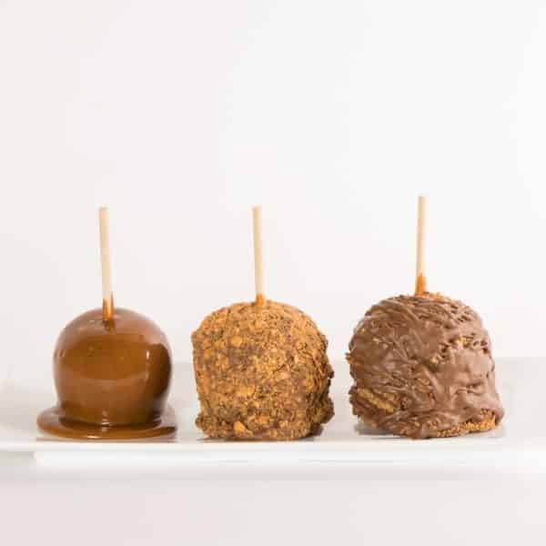 Crunch Chewy Peanut Buttery Flavored Candy Caramel Apple w Milk Chocolate Progression